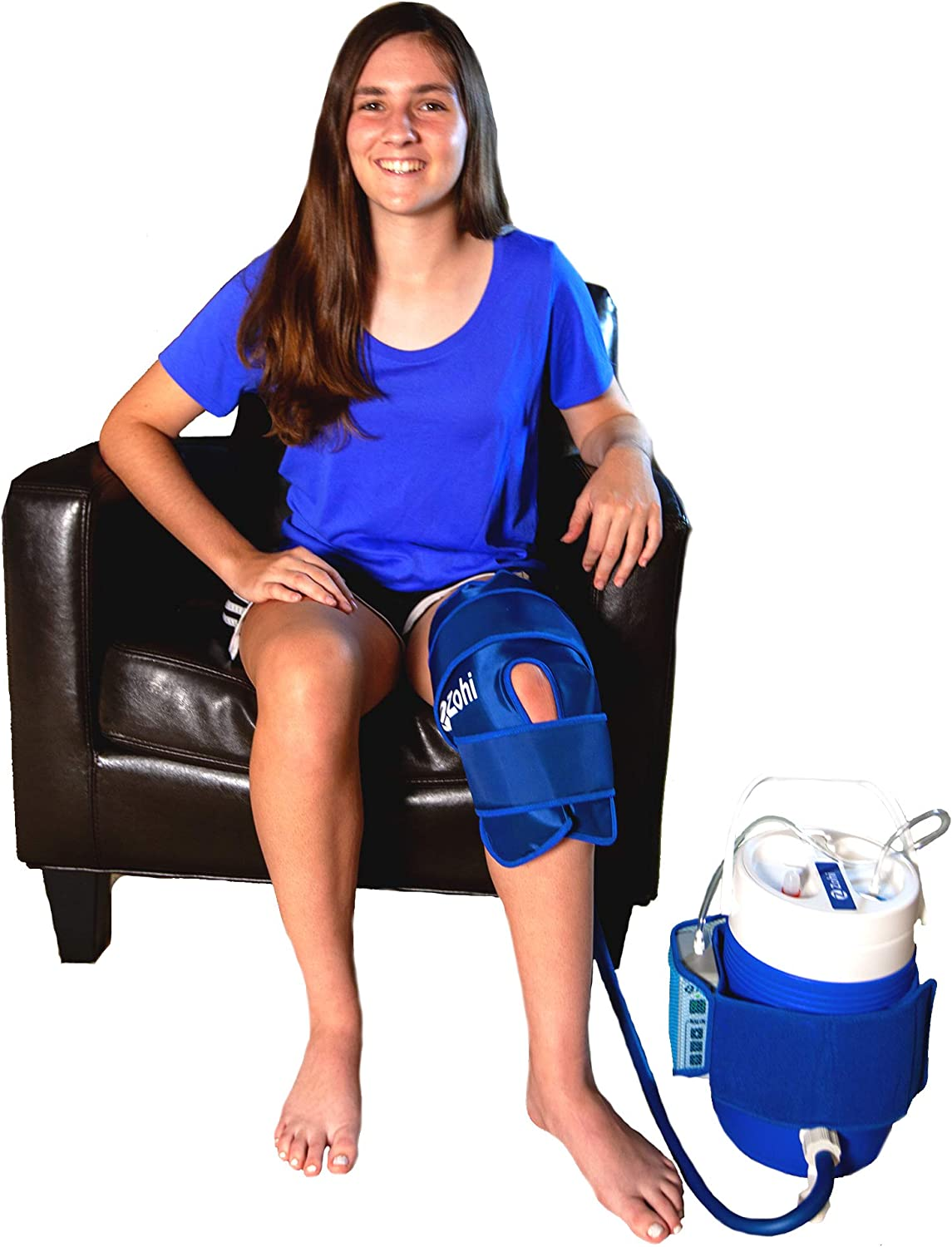 Cryo Knee Care | Cold Therapy System Motorized | Zohi Advanced Motorized Home Therapy System with Continuous CryoTherapy Circulation | Cooler Provides Hours of CryoTherapy | Adjustable Kneed Cuff |
