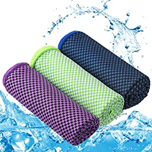 Zacro 3 Packs Cooling Towel - Bamboo Microfiber Ice Towel, Soft Breathable Chilly Towel for Sports, Running, Yoga, Pilates, Gym, Camping, Gifts