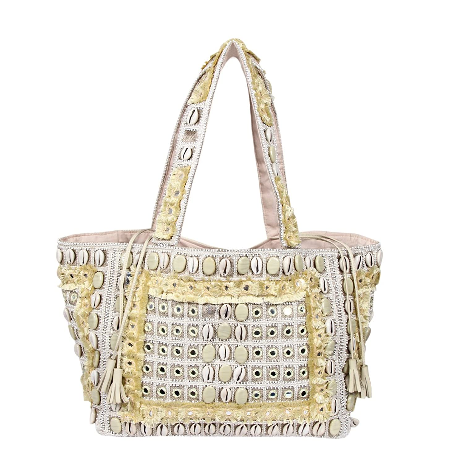 00d5705dcd Afflon Beige Stone Mirror Work Leather Cowrie Hand Embroidered Bohemian  Clutch Bag For Women