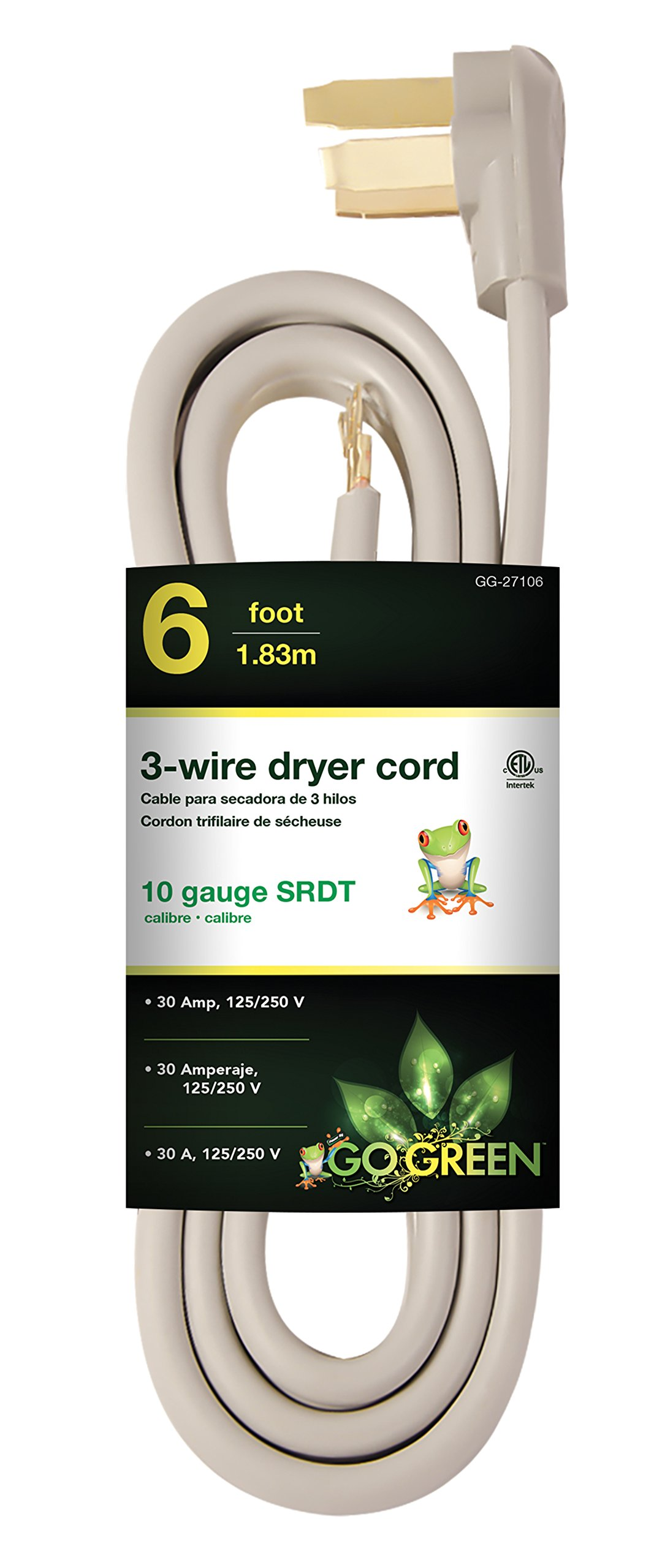 GoGreen Power GG-27106 6' 3 Wire Dryer Cord, 30 Amp