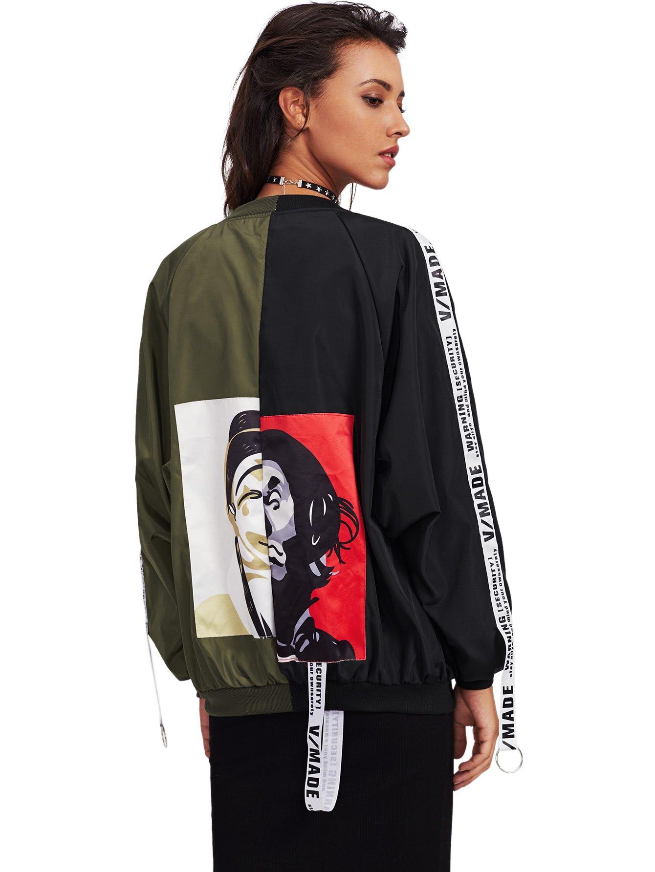 SweatyRocks Women's Casual Lightweight Color Block Bomber Jacket Black Green One Size