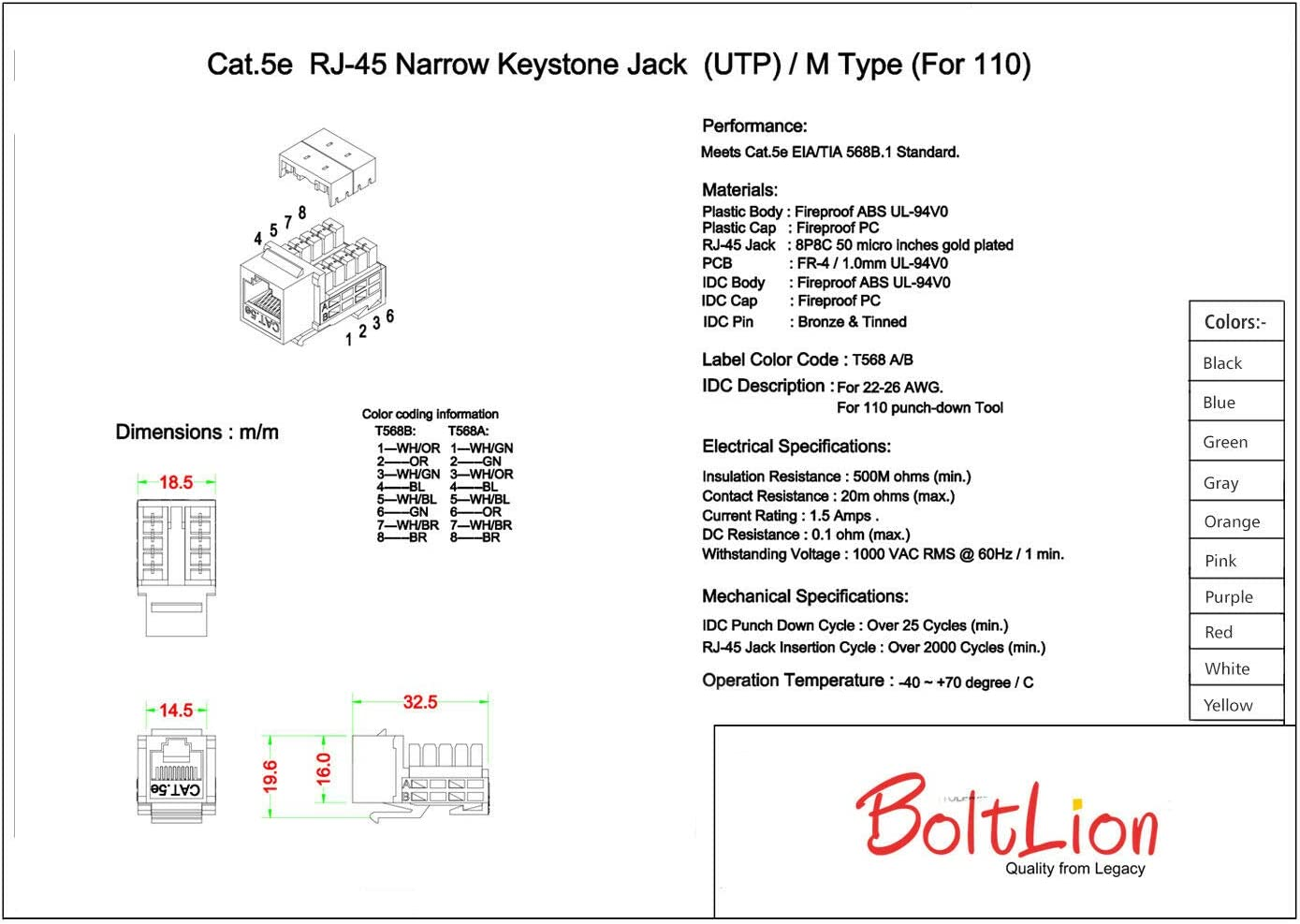 BoltLion BL-695682 Cat5e RJ45 Keystone Jack in Punch-Down Stand, for Home//Offices//Hotels//Schools 15 Pack White UTP//UL Listed