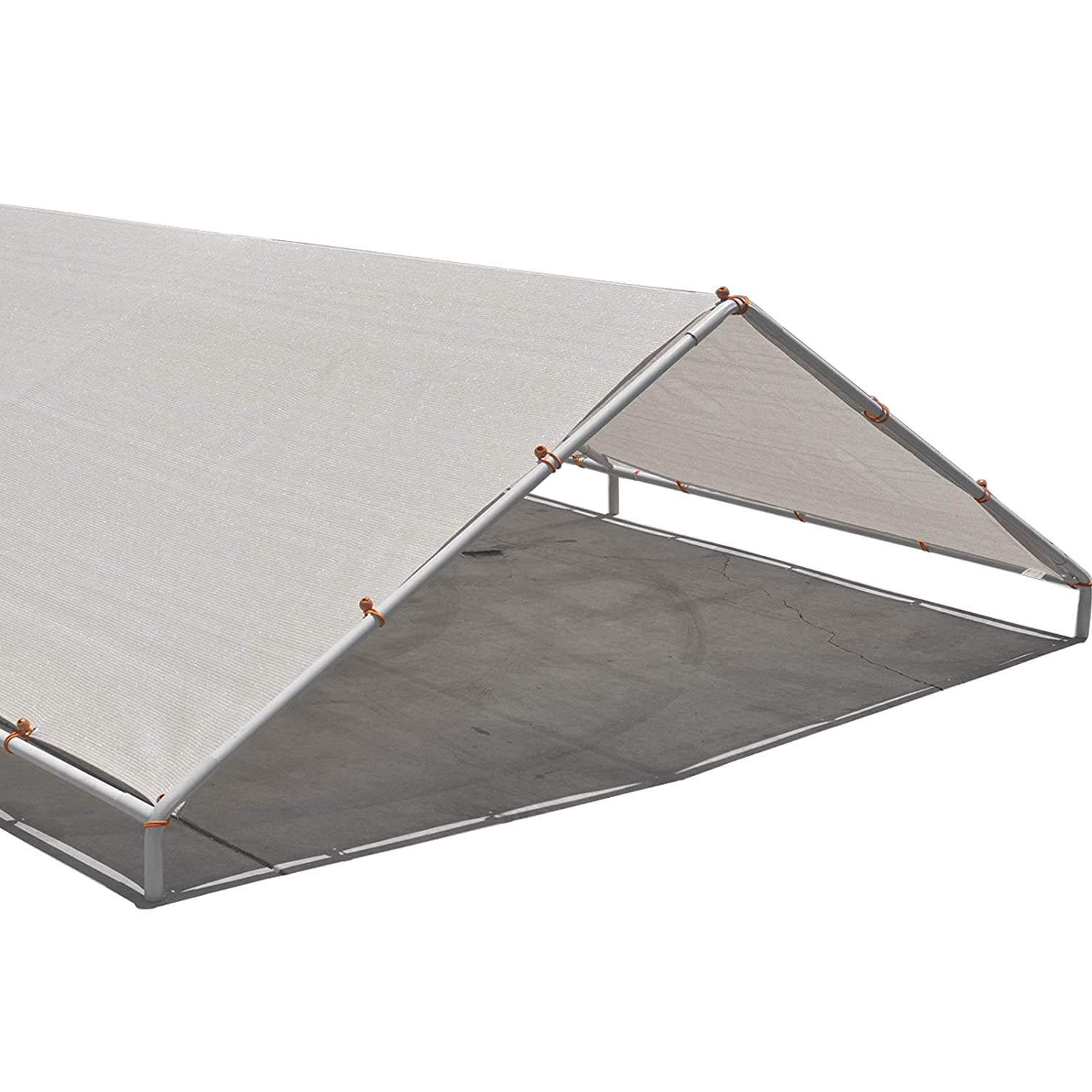 Alion Home Carport Canopy Replacement Permeable Sun Shade Cover High Peak (Frame Not Included) (12' X 16' fits 10' x 16' Frame, Beige) AH-CCRBG1216