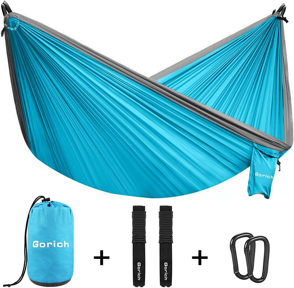 Gorich Double Parachute Camping Hammock Lightweight Portable Hammock with Tree Straps Steel Carabiners Great 2 Person Hammock for Backpacking, Camping, Hiking, Travel, Beach, Yard.
