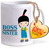 TIED RIBBONS Best Gift for Sister's Birthday Printed Coffee Mug with Wooden Tag