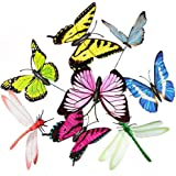 LIPROFE Dragonfly Butterfly Stakes Garden Ornaments Patio Yard Flower Bed Lawn Decor Party Supplies Butterfly Decorations 25 PCS for Outdoor Garden Yard