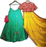 Clickedia Women's Banglore Cotton Silk Embroidery Work Semi-Stitched Lehenga Choli with Blouse Piece (Green,Free Size)