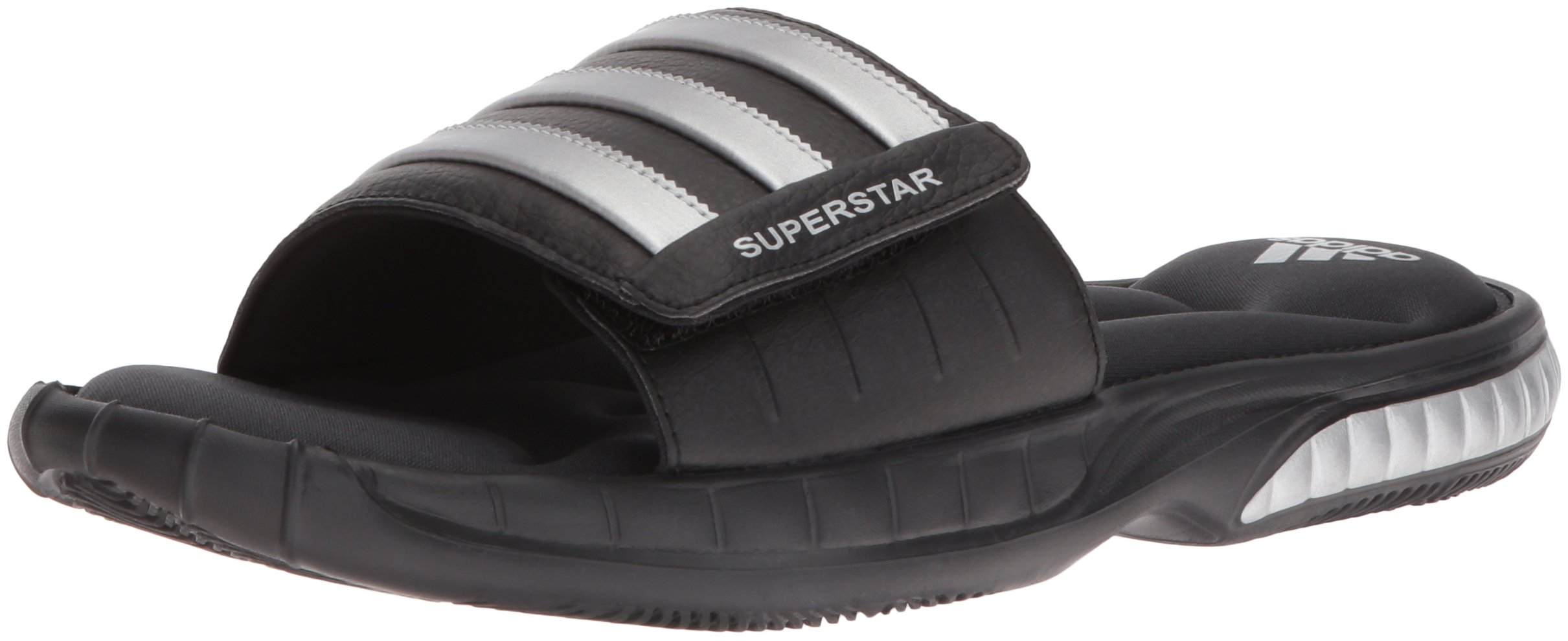 adidas Men's Superstar 3G Slide Sandal,Black/Silver/Grey,11 M US
