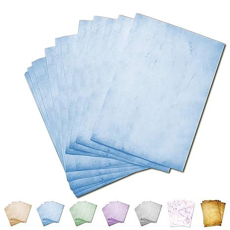 Partycards Papel de Escribir | 50 Hojas |Azul|Formato DIN A4 (21,0 x 29,7 cm)|Gramaje 90 g/m² |impresión a Doble Cara, Adecuada para Todas Las ...