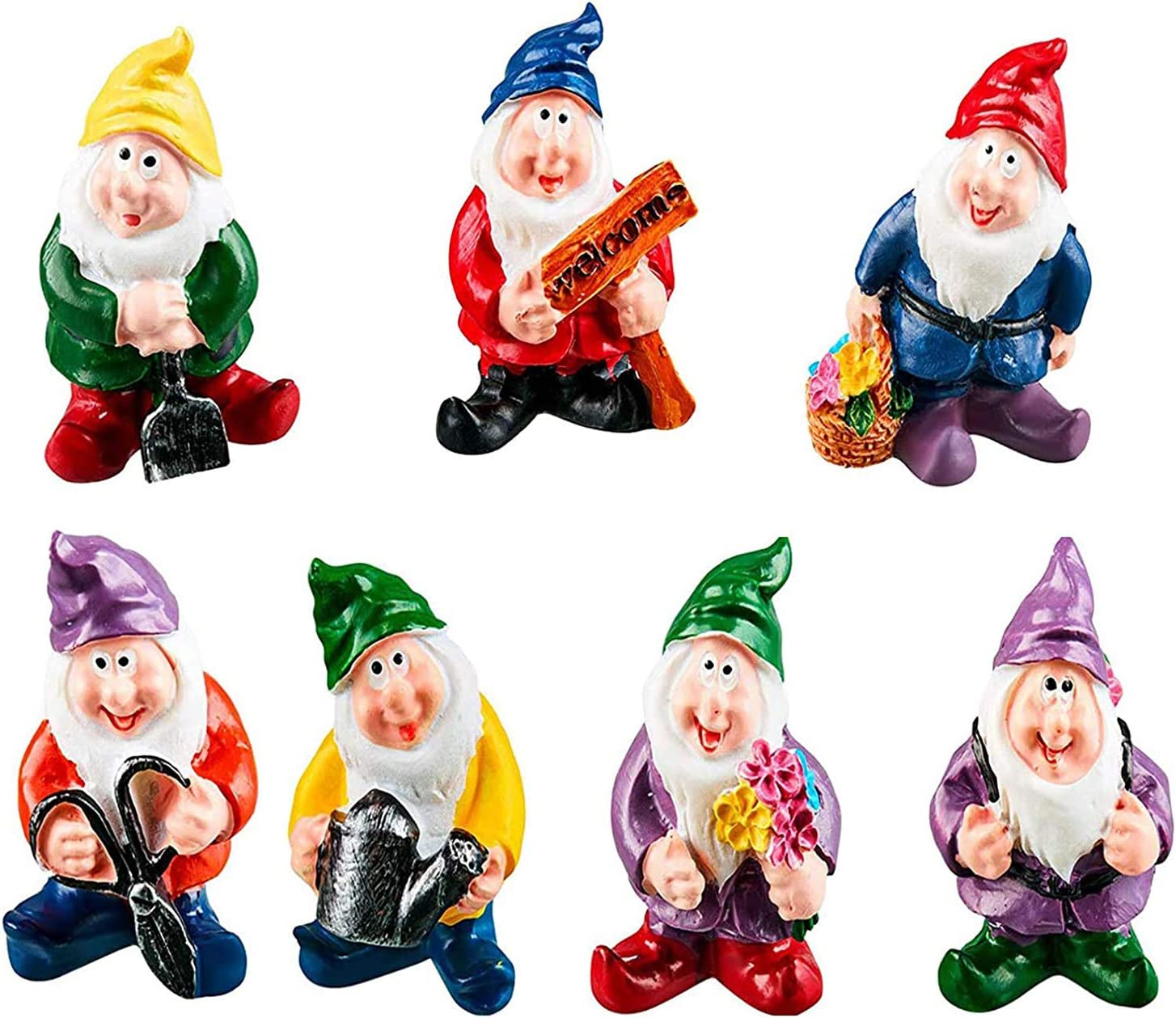Limao Fairy Garden Accessories Outdoor Mini Gnomes Fairy Garden Set Seven Dwarfs Statue with Flowers and Tools(7 Pcs)