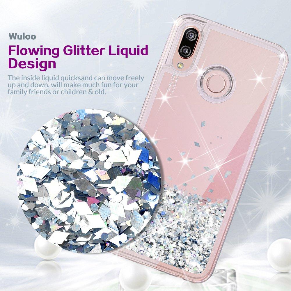 wlooo Funda Huawei P20 Lite, Huawei P20 Lite Glitter Liquid Funda Lujo Líquido Moda 3D Bling Cubierta Flowing Liquid flotante Sparkly Glitter Cute Cover ...