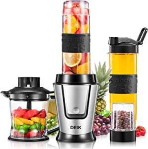 Deik Personal Blender, 500 Watt High-Speed Smoothie Blender Single Serve Blender for Shakes and Smoothies, Mini Blender with 20Oz Portable Blender Cups, Coffee Grinder Cup, and Chopper, Silver