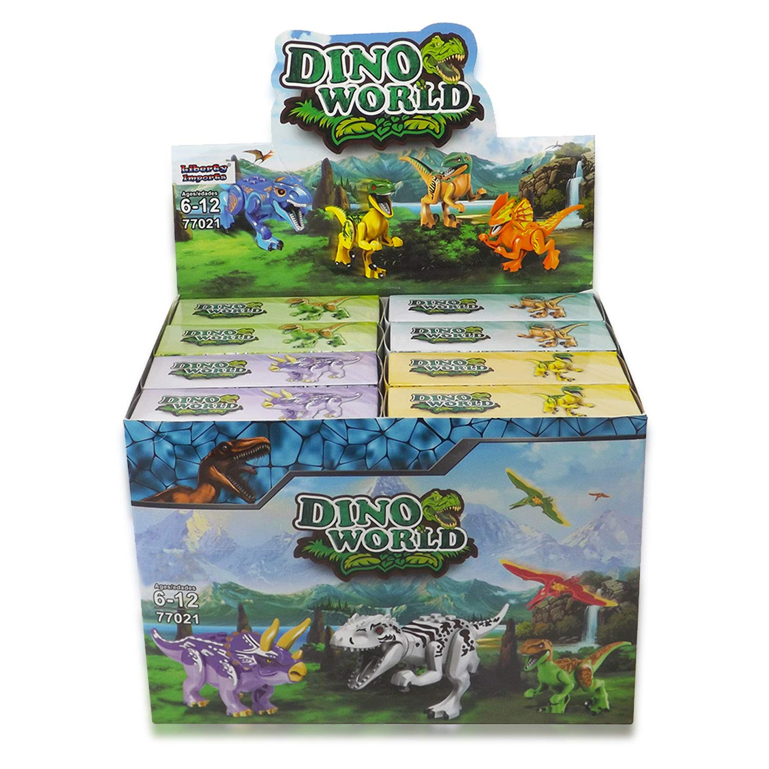 Set of 16 Liberty Imports Dino World Dinosaur Building Blocks Miniature Action Figures Jurassic Toys Kids Bulk Party Favors Gift Pack