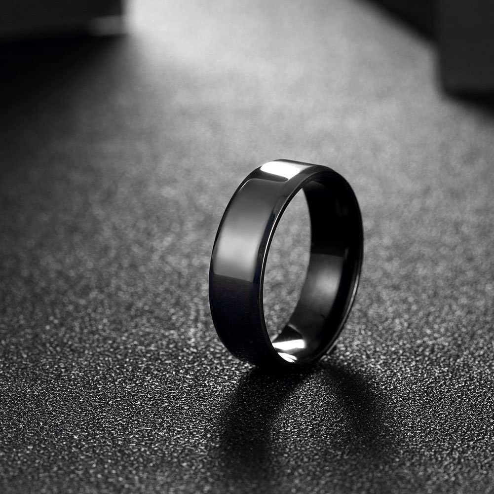 Mens Plain Rings 6MM Black 316L Titanium Stainless Steel Engagement Promise Rings Wedding Bridal Rings Bands High Polished Finish Comfort Fit Size 7-10