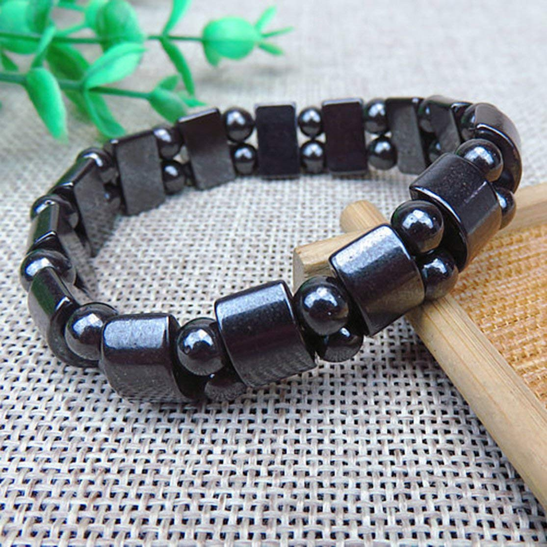 LouiseEvel215 Natural Black Stone Magnetic Therapy Bracelet Health Care Magnetic Hematite Stretchy Unisex Bracelet For Men Women