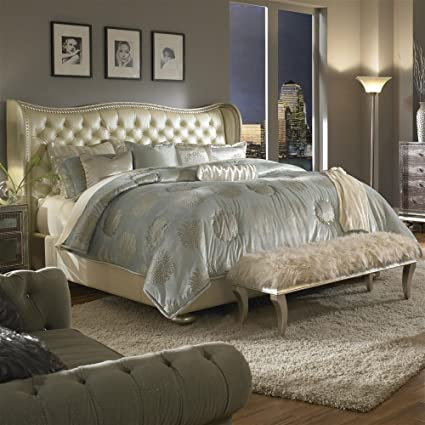 Merveilleux Hollywood Swank Eastern King Pearl Leather Bed By Aico Amini