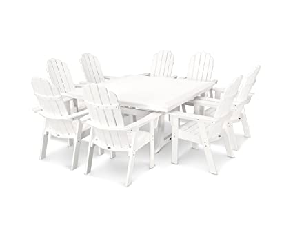 POLYWOOD Vineyard Adirondack 9 Piece Nautical Trestle Dining Set (White)