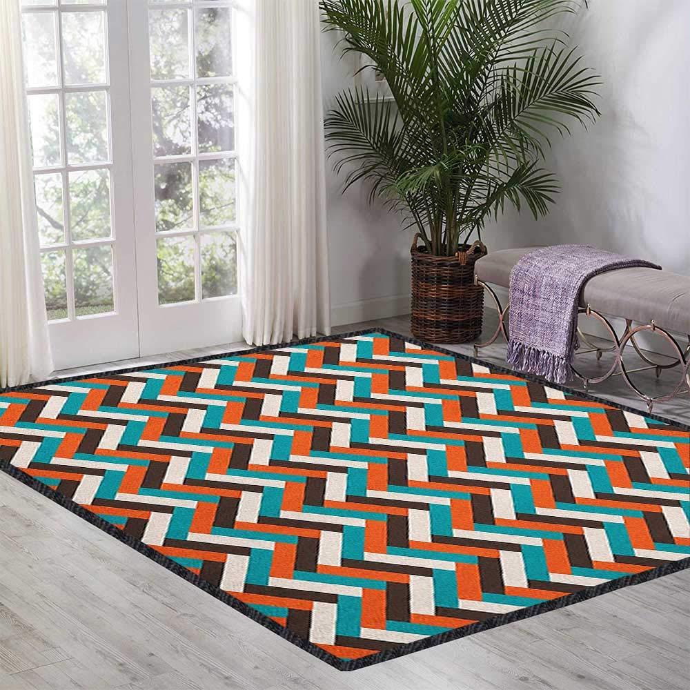 Mid Century Modern Area Rug with Non-Skid,Herringbone Pattern in Retro Colors Simple Funky Design of Classic Mosaic Tile Anti-Static,Water-Repellent Multicolor 55''x63'' by Philip C. Williams