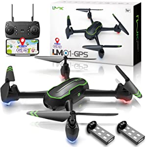 LMRC GPS Drone with UHD Camera for Adults, GPS Auto Return, 5GHz FPV RC Quadcopter Auto Return Home, Altitude Hold, Follow Me, Custom Flight Path, Easy to Use for Beginner 2 Batteries - Black