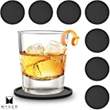 MYXER Drink Silicone Coasters Set of 8 - Black - Easy to Clean & Leave No Stains with Good Grip