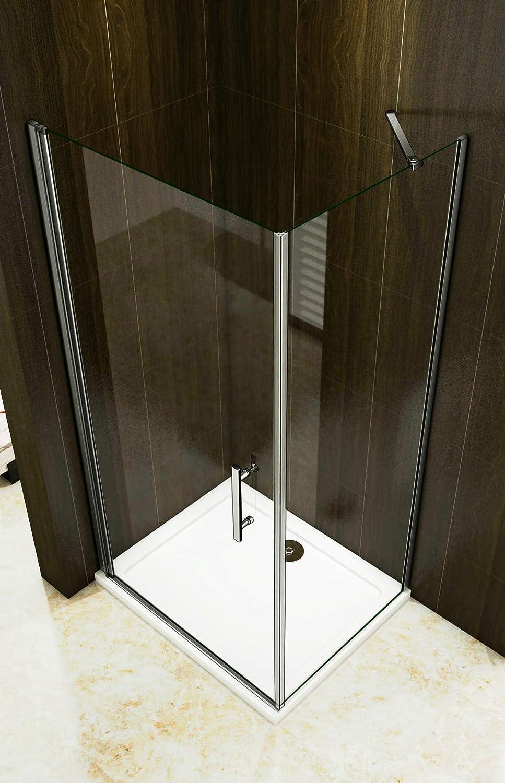 Duschkabine 76x76cm Duschabtrennung 2 Duscht/ür Dreht/ür Duschwand NANO Glas 195cm