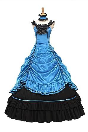 XOMO Southern Belle Civil War Off Shoulder Formal Dress Satin Lolita Dress Ball Gown Blue S
