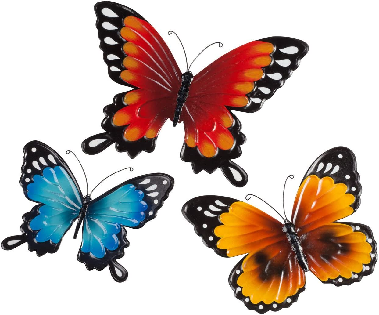 Fox Valley Traders Indoor Outdoor Metal Butterflies, Set of 3 – Blue, Yellow, and Orange Butterflies with 7 , 8 , and 10 Diameters and Triangle Display Hook