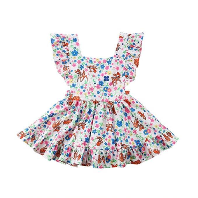 Amazon.com: Bonito vestido de verano con diseño de ciervo ...