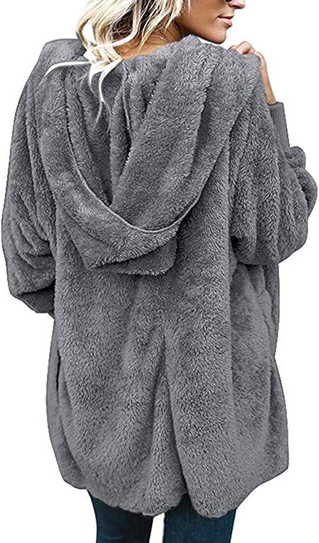 Abravo Donna Cardigan con Cappuccio di Peluche Invernale Caldo Felpa Elegante Cappotto Lungo Fronte Aperto Giacca in Pile Tops