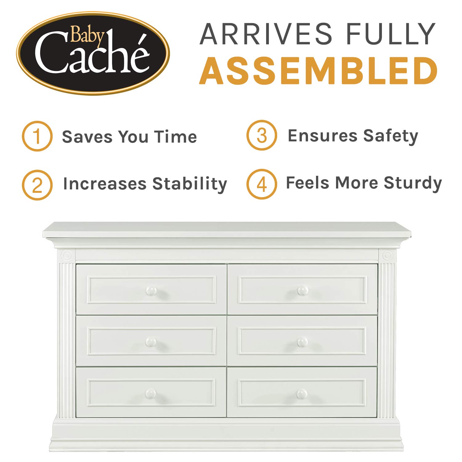 Baby Cache Montana Collection Natural Hardwood 6 Drawer Dresser | Lasting Quality & Design | Kiln-dried & Hand-Crafted Construction | 56'' x 18.5'' x 34'', Glazed White by Baby Cache (Image #7)