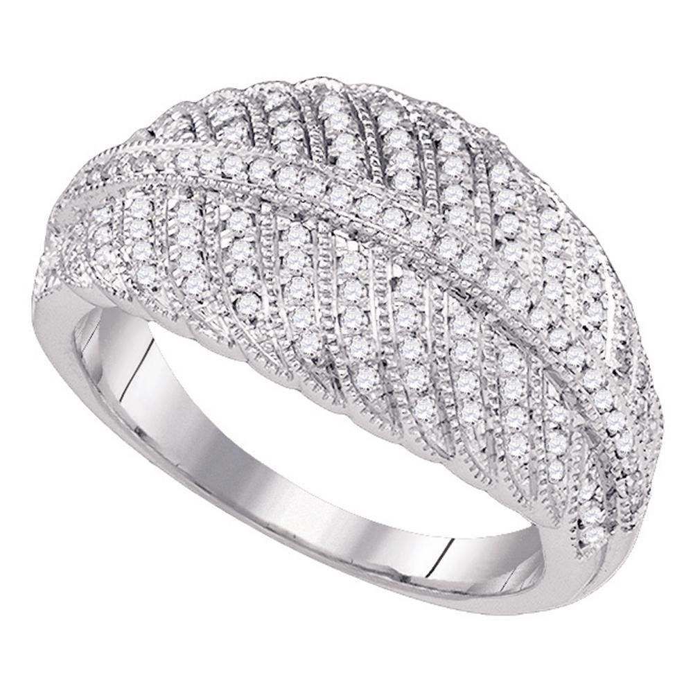 Designer Style Diamond Cocktail Ring Solid 10k White Gold Dome Band Fashion Round Cluster Style 3/8 ctw by GemApex
