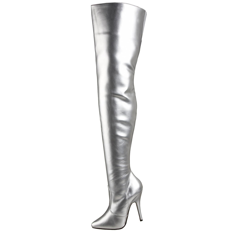 Pleaser Women's Seduce-3010 Thigh High Boot B000GE79ZY 8 B(M) US|Silver Pu
