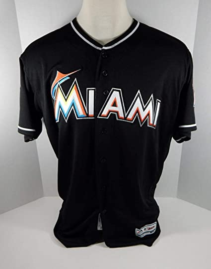 212fdfedeec 2018 Miami Marlins Blank Authentic Game Issued Black Jersey 25th Patch  Size  40 - Game Used MLB Jerseys at Amazon s Sports Collectibles Store