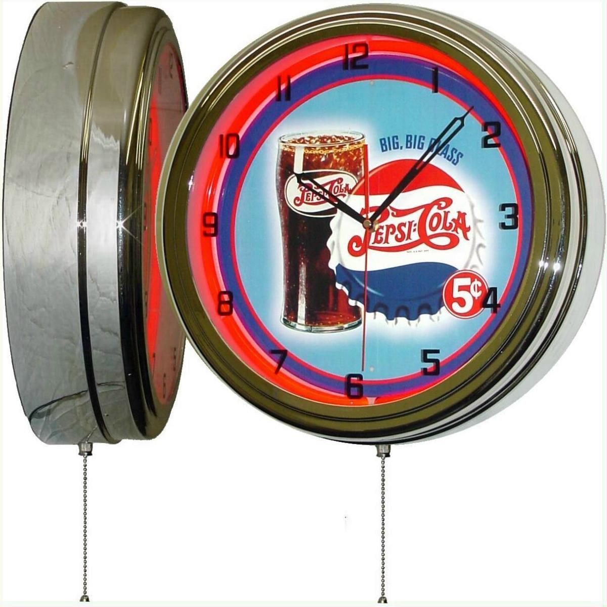 PEPSI Cola Big Big Glass 15'' Neon Lighted Wall Clock Sign
