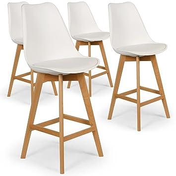 intensedeco lot de 4 chaises hautes style scandinave catherina blanc - Chaises Hautes Scandinaves