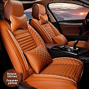 for Land Rover Universal 5-Seats Car Seat Covers PU Leather Waterproof Seats Cushion All Season Fit Most Car, Truck, SUV, or Van Front Seat+Rear Seat 9Pcs Luxury Edition Cayenne Yellow