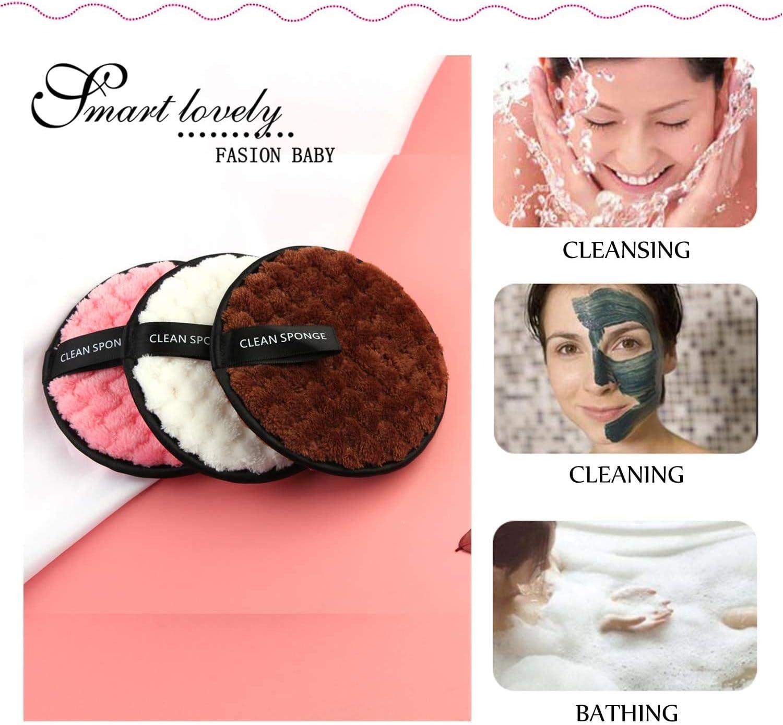 Nettoyantes Visage Lavag MOULLY 4 Pcs Coton Demaquillant Lavable Makeup Pads D/émaquillant Microfibre Kit Tampons D/émaquillants Biologique /Éponge Lingettes D/émaquillage R/éutilisable