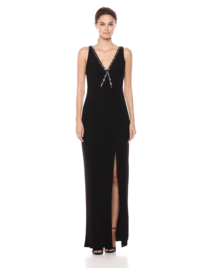 d732909e7b374 Adrianna Papell Women s Beaded V Neckline Matte Jersey Long Gown with Side  Slit at Amazon Women s Clothing store