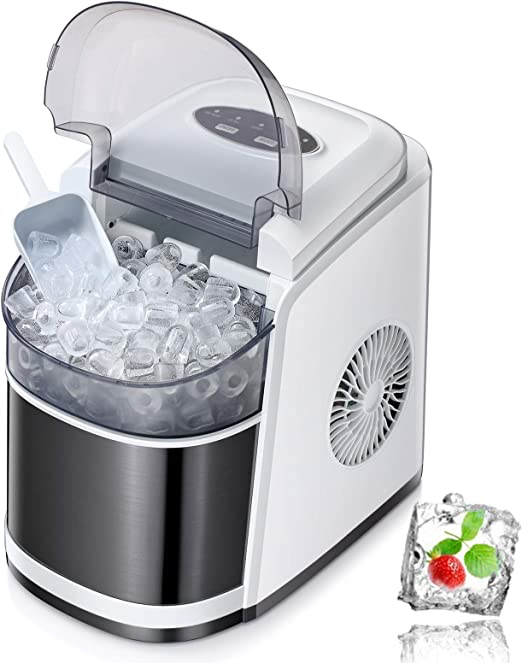 White Cloud Mountain Portable Ice Maker Countertop 26 lbs Ice Making Machine Self Cleaning Ice Cube Maker Ready in 6 Minutes with Basket and Ice Scoop