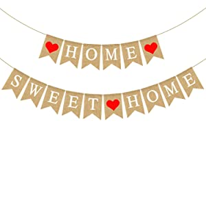 Rainlemon Rustic Jute Burlap Home Sweet Home Burlap Banner Mantel Fireplace Garland Decoration