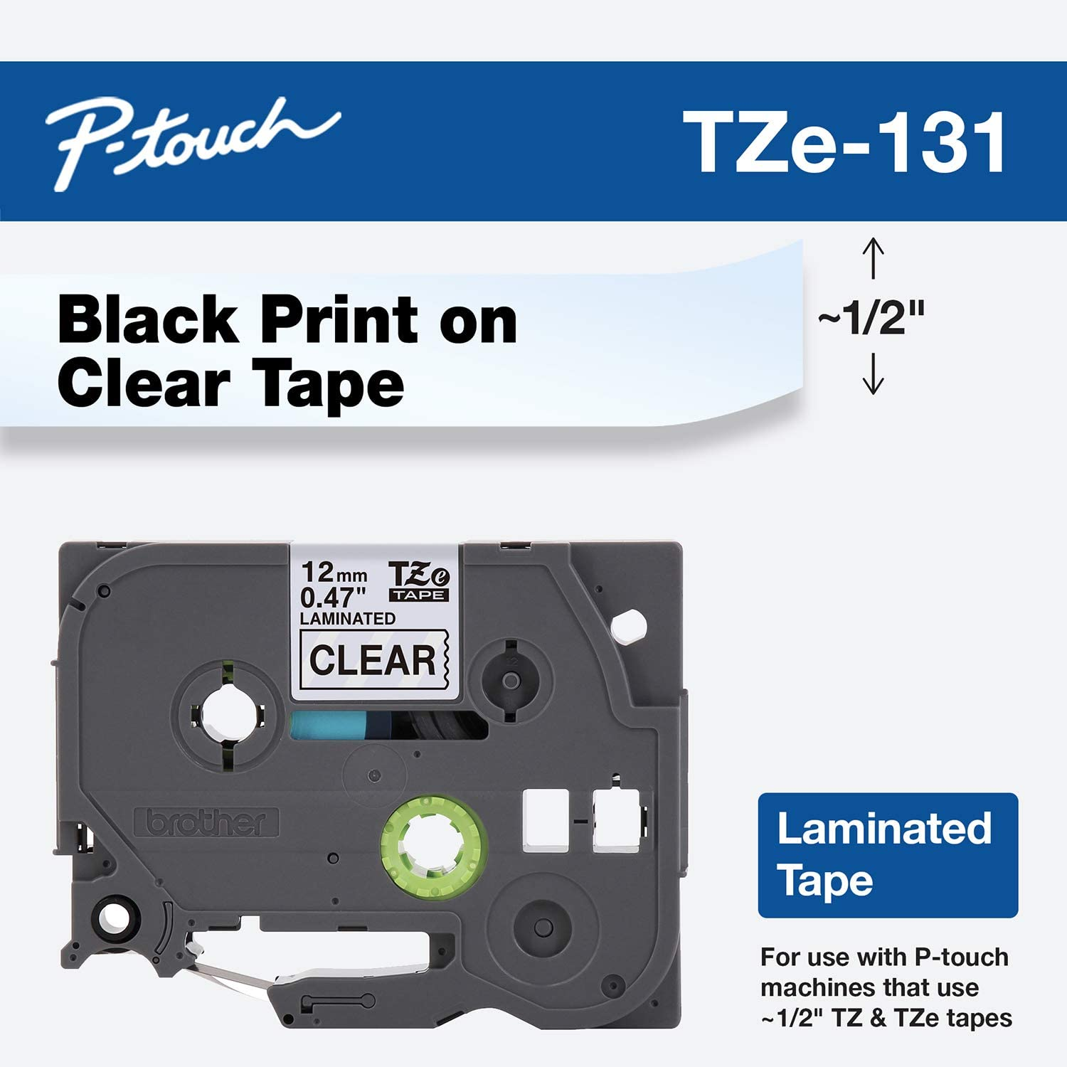 5 Pack 12mm Black on Clear Tape For Brother P-touch TZ 131 TZe 131 PT-D210 Label