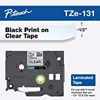 "Brother Genuine P-touch TZE-131 Tape, 1/2"" (0.47"") Standard Laminated P-touch Tape, Black on Clear, Perfect for Indoor or Outdoor Use, Water Resistant, 26.2 Feet (8M), Single-Pack"