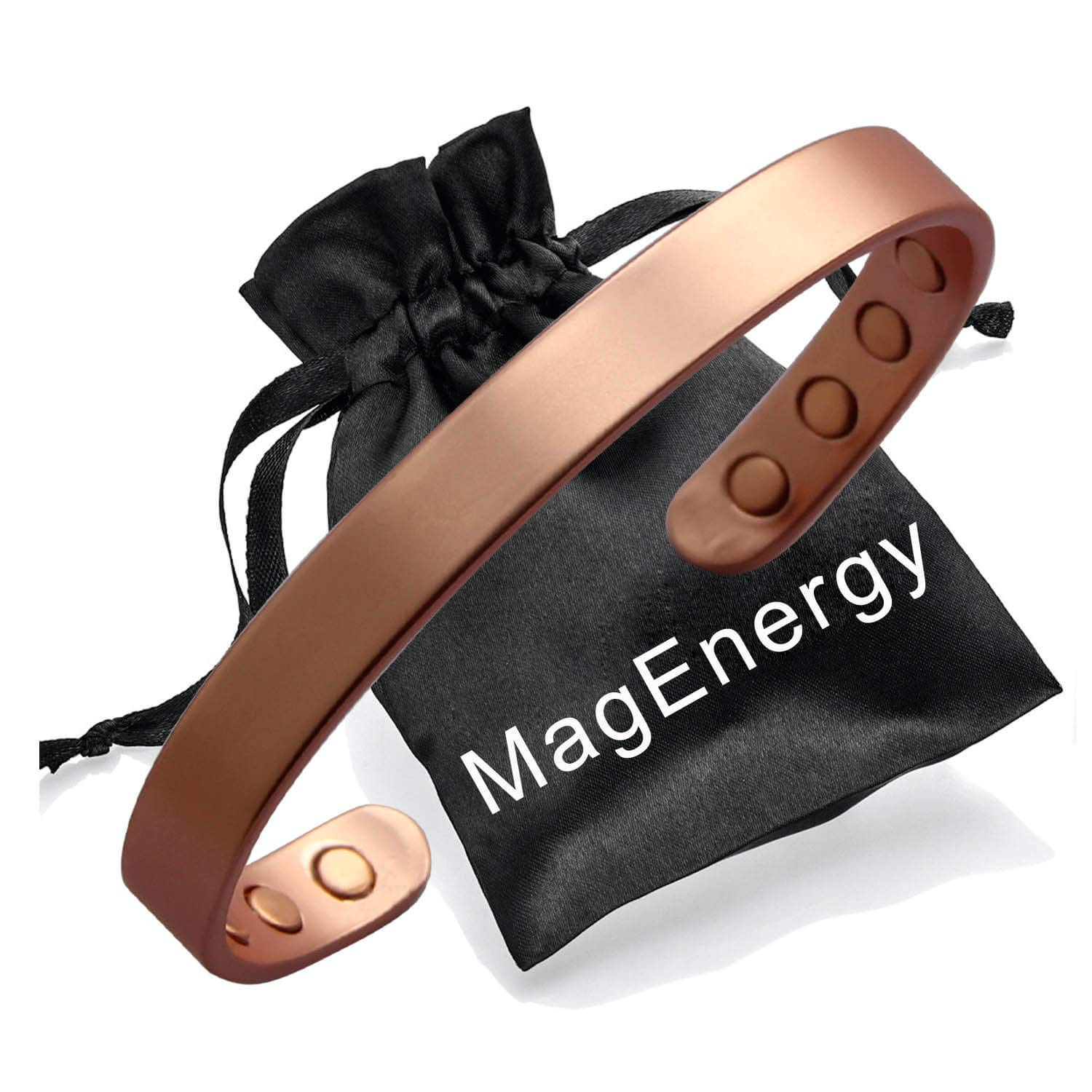 Copper Bracelet for Men and Women 99.9% Pure Copper Bangle 6.5'' Adjustable for Arthritis with 8 Magnets for Effective Joint Pain Relief, Arthritis, RSI, Carpal Tunnel by MagEnergy