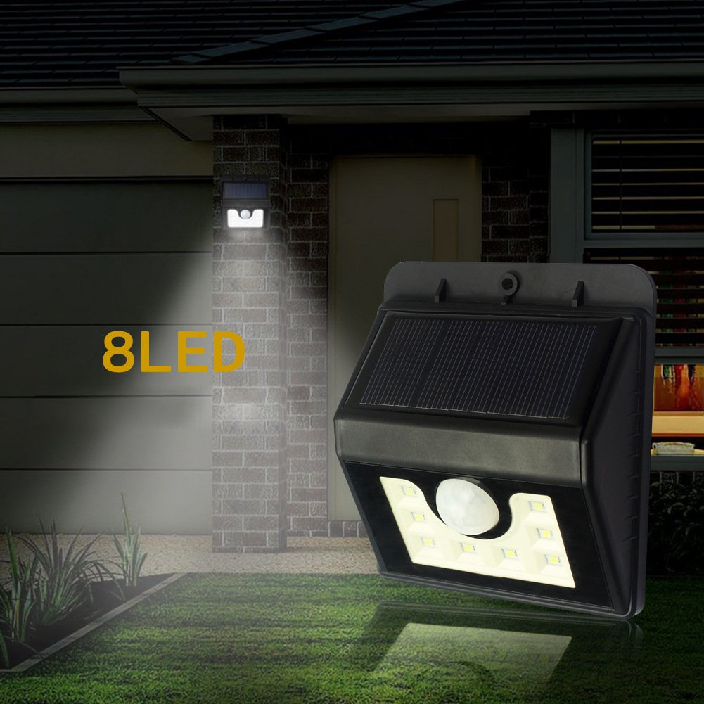 Outdoor Solarleuchte, Tegrace 8 LED Leuchten fuer Garten mit Bewegungssensor Licht Sensor, 3 Intelligenten Modi, Waetterfeste LED Solar Leuchte