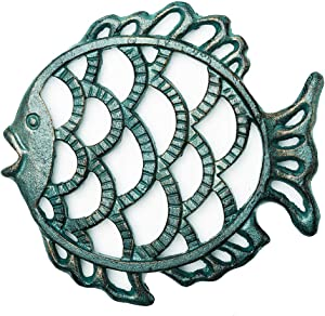 Sungmor Cast Iron Cute Fish Trivet for Wood Stove - Dia-7.5 Inch Dark Green Finish - Rustproof Round Stands for Hot Pots/Dishes/Pans - Decorative Metal Table Trivet for Kitchen Cooking