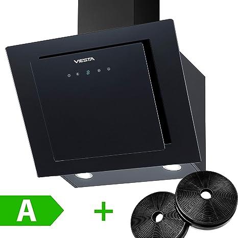 Viesta DH600XA Campana de cocina 60cm incluido filtro de carbono activo - Campana extractora/Sensor de control táctil, iluminación LED, hecho de acero y cristal negro: Amazon.es: Grandes electrodomésticos