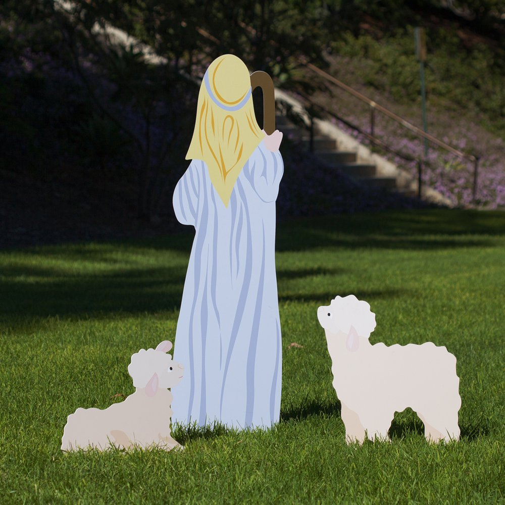 Outdoor Nativity Store Outdoor Nativity Set Add-on - Shepherd and Sheep (Life-size, Color)