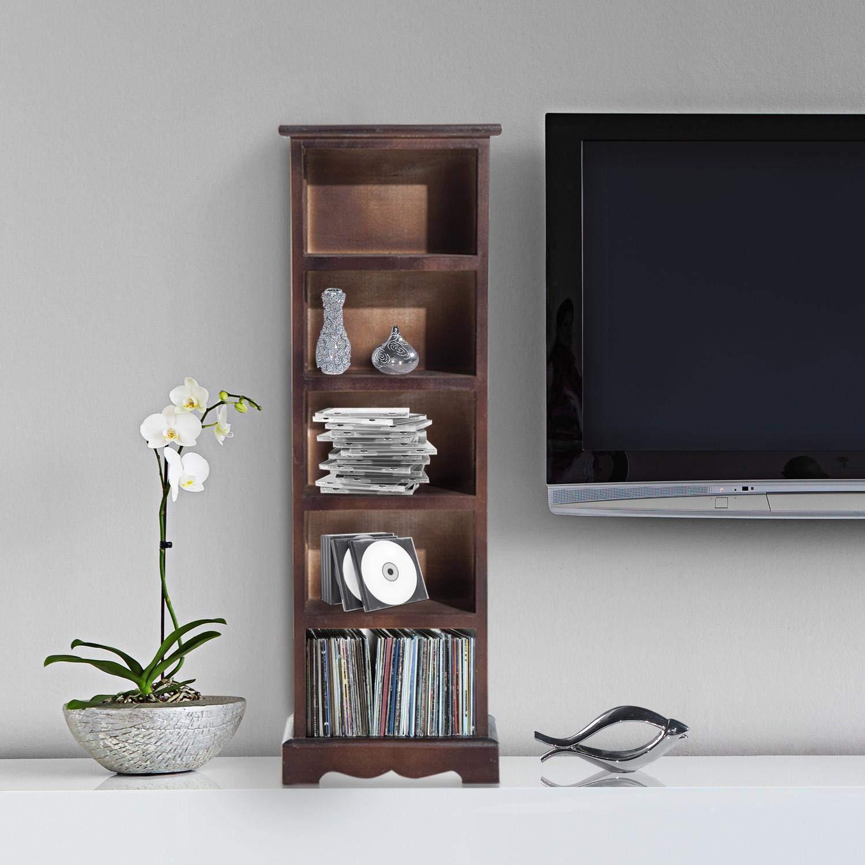 Scaffale portaoggetti generico con ripiani per riporre oggetti, collezioni di CD, LVES marrone, unità a torre per CD, unità a P, unità CD, in legno di paulonia