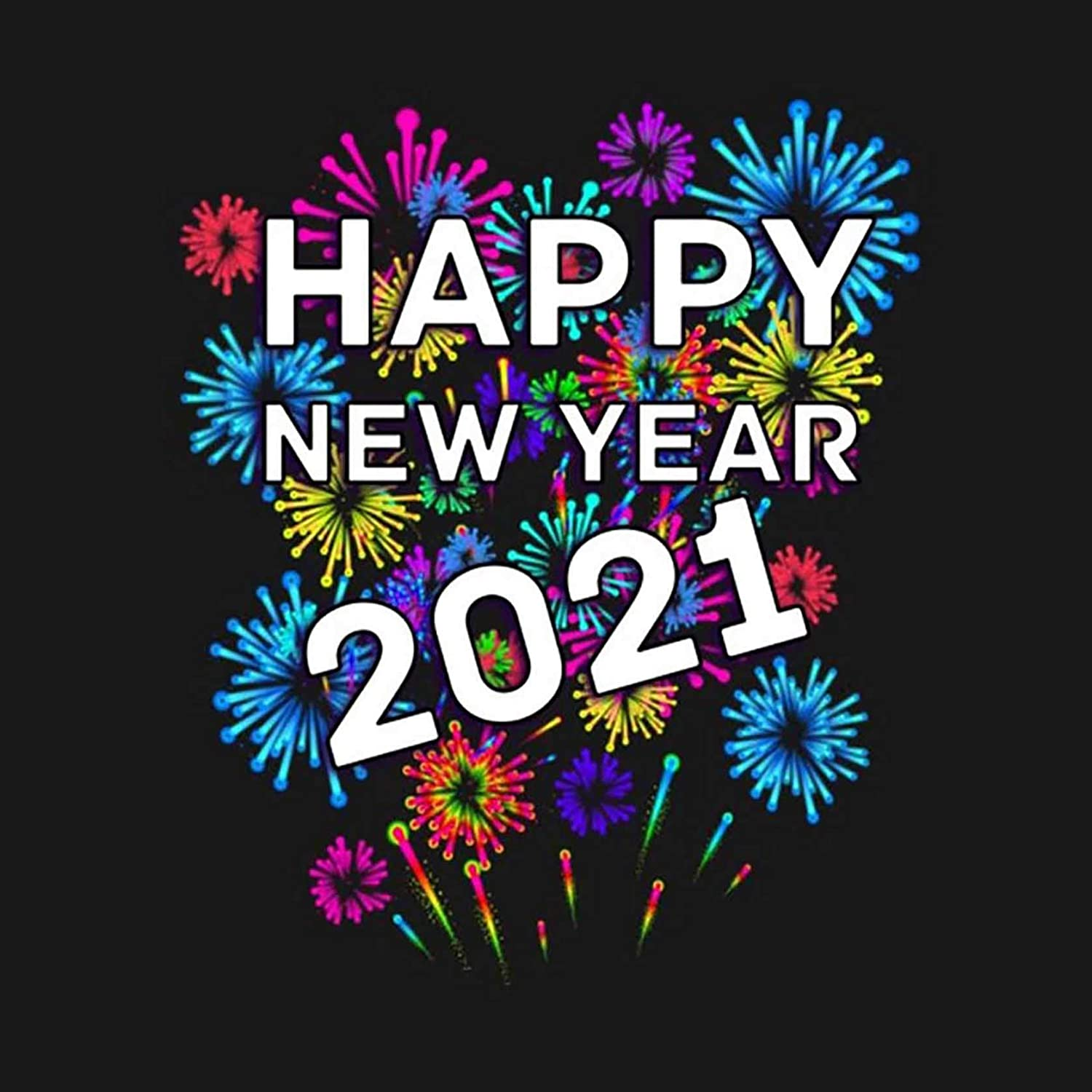 Theshai 5D Diamond Painting Happy New Year, Paint with Diamonds Fireworks 2021 Letter for Home Wall Decor DIY Full Drill Diamond Painting by Number Kits (35x35cm) 14x14inch
