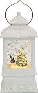 "Roman Inc. 8.5"" H LED White Lantern with Snowman Winter Scene Glitter Dome Snow Globe"